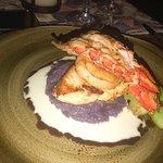 fish, scallop, jumbo prawn dish