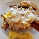 Fried Chicken Biscuit with Bacon, Eggs, Gravy