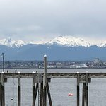 Beautiful view of the Mountains in the background on the deck next to Ivar's