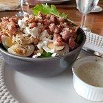 Chicken bacon egg and feta salad