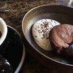 Chocolat fondant with hibiscus whipped cream