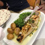 Bacalhau Lagareiro , salada mista, Tagliatone com Gambas e Coentros