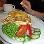 Cheese omelette and lovely chips