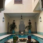 Outside the Hammam the pool area and mint tea of course!