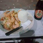 my favorite Spicy shrimps with red horse beer!