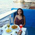 Cena al lado del mar con el atardecer, perfecto!