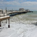 Worthing Pier on a blustery, but sunny day, in May.