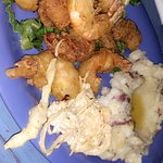 Shrimp and mashed potatoes! It was so delicious and the server was great!