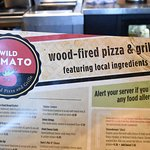 Wild Tomato menu (partial)