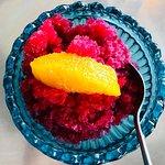 Blood orange and hibiscus tea granita