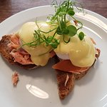 Eggs Benedict with fresh smoked salmon on toast!