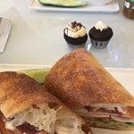 Turkey BLT, Choc and Caramel Cupcakes, Mozz and Tom sandwhich and bowl of soup.