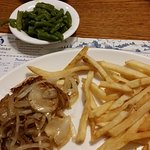 Chicken breast, green beans and french fries
