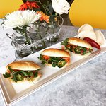 Our infamous Banh Mi Trio - 3 Mini Banh Mi's - Grilled Lemongrass Chicken, Jambon and meatballs.