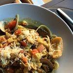 Fruitti Di Marelinguinne (sautéed seafood with olive oil, sweet basi, saffron and fresh tomato)