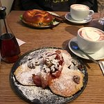 Pancakes w/bacon, caramelized pecan nuts & syrup; pretzel w/salmon, cream cheese & dill
