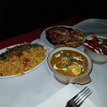 Mush Pilau Rice (type of fried rice), good texture. Chicken Korma sublime chicken, awesome sauce