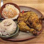 Half chicken with sweet mashed potato and coleslaw