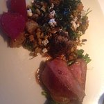 Duck with duck sausage, morels and wild rice