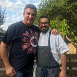 Dr P (me) and Aiki the chef/owner on the outside patio