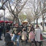 Food stalls and seating at the Miradouro