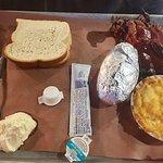 Fire N Smoke brisket, potato and Mac & Cheese