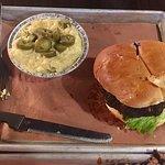 Fire N Smoke Mushroom Burger and Jalapeño grits
