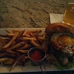 The Ugly Pig, pork loin, pepper jack cheese, and a fried egg