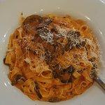 Gluten free pasta with mushroom and vodka sauce