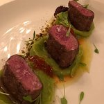 Lamb loin with basil potatoes puree