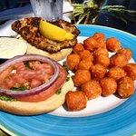 Grouper and sweet potato tots