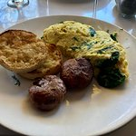 Florentine omelet with roasted potatoes and english muffin