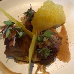 Pork belly with corn fritters - not one for the waist line!