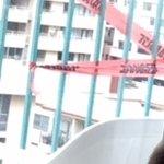 DANGER tape on the balcony railing