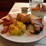Eggs with mushrooms, bacon, link sausage, scones, Prime Rib