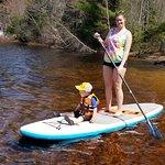 Mom and son paddle winnipesaukee