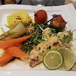 brochettes de poulets et légumes