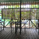 Great seating by the bamboo screen