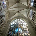 The ceiling and stained glass