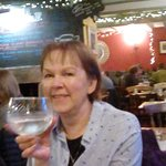 Mrs K enjoys one of the fantastic range of gins available at the Wheatsheaf