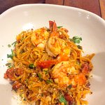 Linguini with river shrimps and Spanish chorizo