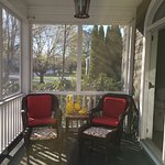 My favorite spot to read, relax, drink coffee (or an adult beverage), and listen to the birds!
