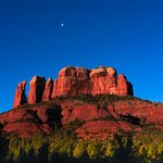Moon and red rock