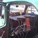 Dining Inside An Old Car