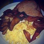 eggs, potato, and bacon