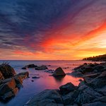 Sunset at Brighton Beach Rocky Area