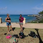 Mel (left) from Latitude 17 scuba, at the Frederiksted pier