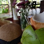 Our table at Pawikan Restaurant Daluyon with my buko juice