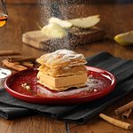 millefeuille with caramel ice-cream