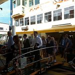 Passengers getting off ferry